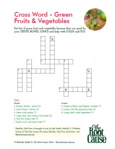 Green Fruit & Vegetables - Cross Word Puzzle
