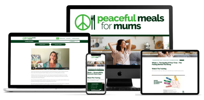 Peaceful Meals for Mums content shown on digital devices